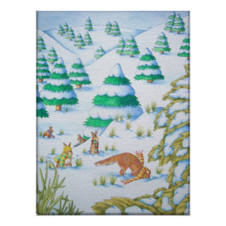 Poster scène mignonne de neige de renard et de Noël de