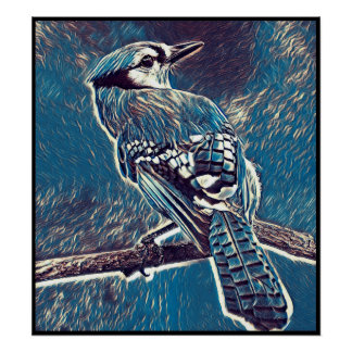 Poster Série stylisée de geai bleu - numéro 1