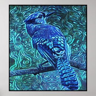 Poster Série stylisée de geai bleu - numéro 11
