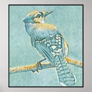 Poster Série stylisée de geai bleu - numéro 12