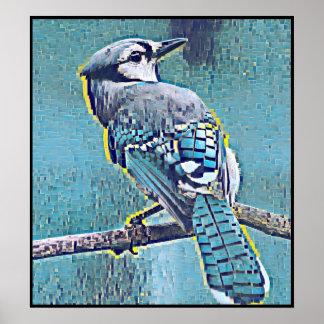 Poster Série stylisée de geai bleu - numéro 18