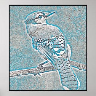 Poster Série stylisée de geai bleu - numéro 26