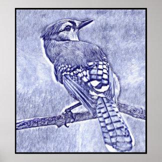 Poster Série stylisée de geai bleu - numéro 29