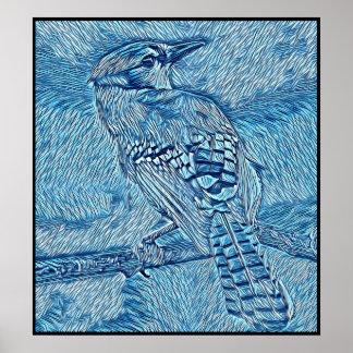 Poster Série stylisée de geai bleu - numéro 42