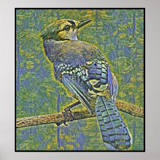Poster Série stylisée de geai bleu - numéro 6