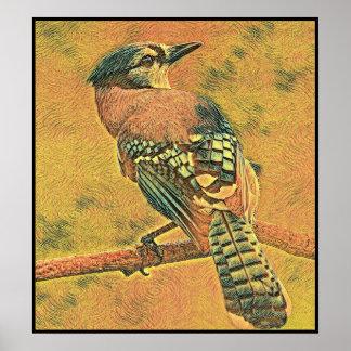Poster Série stylisée de geai bleu - numéro 8