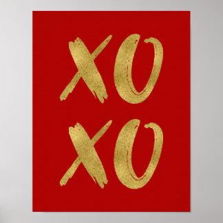 Poster Signe balayé d'affiche de la feuille d'or XOXO