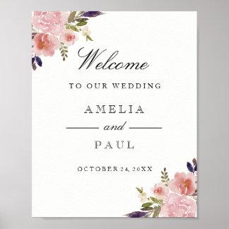 Poster Signe bienvenu de mariage de pivoines roses