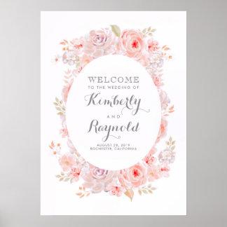 Poster Signe bienvenu de mariage élégant floral rose