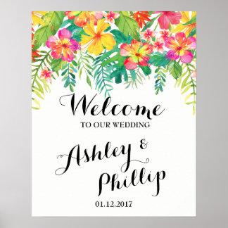 Poster Signe bienvenu de mariage tropical