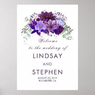 Poster Signe bienvenu de prune et de mariage floral