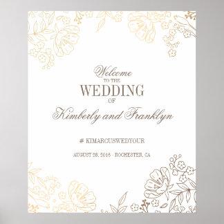Poster Signe bienvenu d'or floral et de mariage vintage