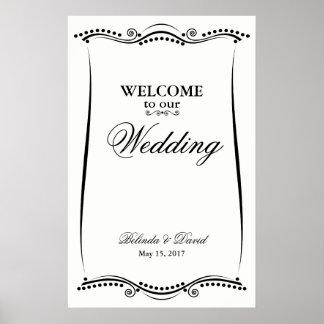 Poster Signe bienvenu fleuri élégant noir et blanc