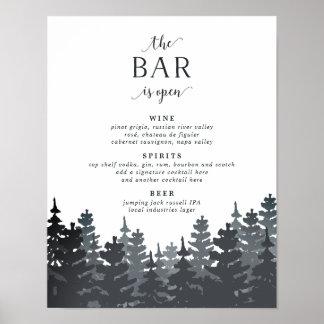 Poster Signe de barre de mariage de forêt d'hiver