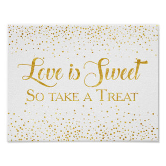 Poster Signe de dessert de mariage de confettis de