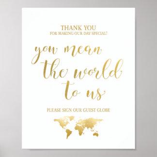 Poster Signe de livre d'invité de globe du charme | de
