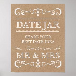 Poster Signe de mariage - signe rustique de mariage de