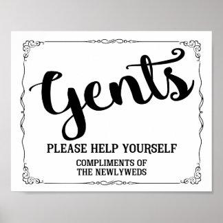 Poster Signe de toilettes de monsieurs - signe de panier