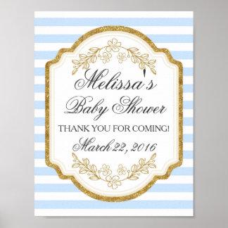 Poster Signe fait sur commande de baby shower, or bleu,