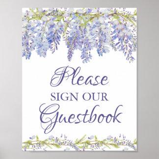 Poster Signe floral bleu et pourpre notre Guestbook