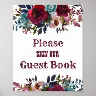 Poster Signe floral rouge de mariage de livre d'invité de