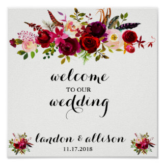 Poster Signe floral rustique de mariage d'aquarelle de