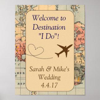 Poster Signe orienté de Décoration-Mariage de voyage