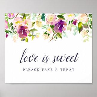 Poster Signe vibrant de barre de dessert de mariage de