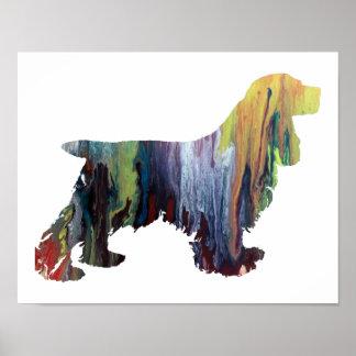 Poster Silhouette abstraite colorée de cocker