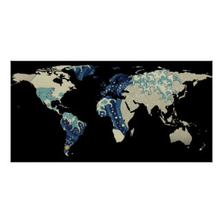 Poster Silhouette de carte du monde - la grande vague