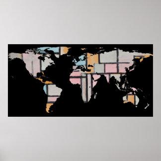 Poster Silhouette de carte du monde - Piet Mondrian