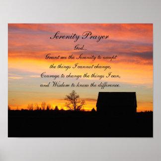 Poster Silhouette de coucher du soleil de prière de