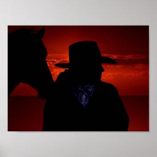 Poster Silhouette de cow-girl et de cheval