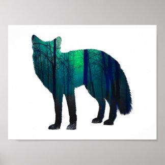 Poster Silhouette de Fox - renard de forêt - art de
