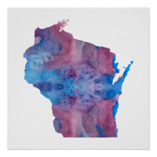 Poster Silhouette du Wisconsin