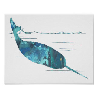 Poster Silhouette narwhal abstraite colorée