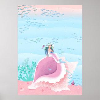 Poster Sirène avec l'illustration des enfants de couronne