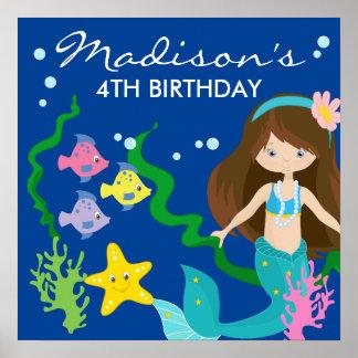 Poster Sirène de joyeux anniversaire | sous la mer