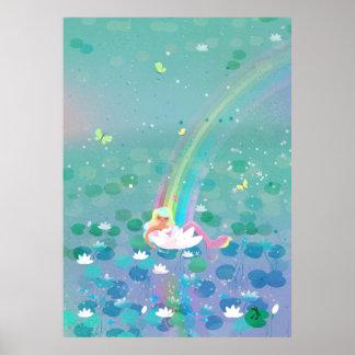 Poster Sirène se reposant dans une illustration des
