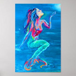 Poster Sirène sous l'affiche de mer