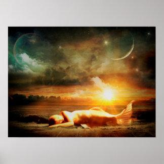 Poster Sirène sous l'affiche mystique de nuit étoilée de