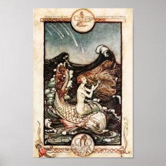 Poster Sirènes Arthur Rackham de songe d'une nuit d'été