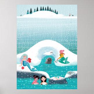 Poster Sirènes ayant un pique-nique avec un phoque et un