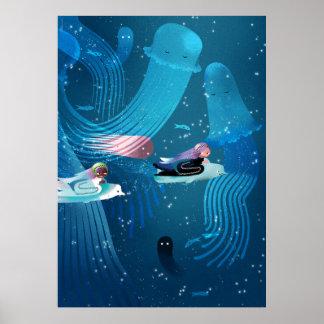 Poster Sirènes emballant dans l'illustration des enfants