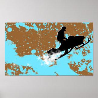 Poster snowmobile. traînée de poudre