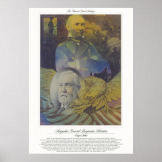 Poster Soldat de citoyen de GÉNÉRAL BENJAMIN HARRISON de
