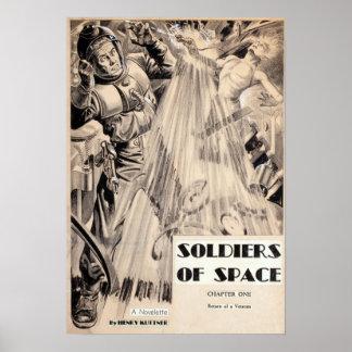 Poster Soldats vintages de pulpe de fiction de la science