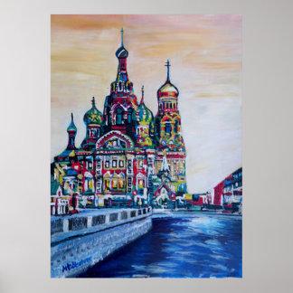 Poster St Petersburg avec l'église du sauveur sur le sang