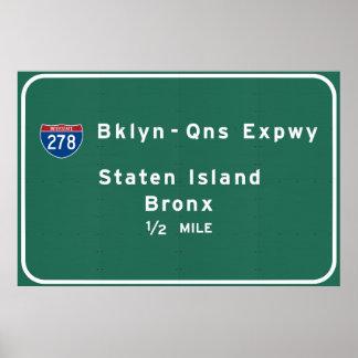 Poster Staten Island Bronx NYC d'un état à un autre New