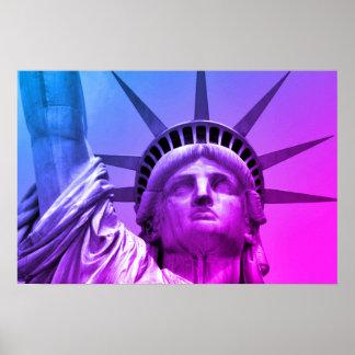 Poster Statue d'art de bruit de la liberté pourpre bleue